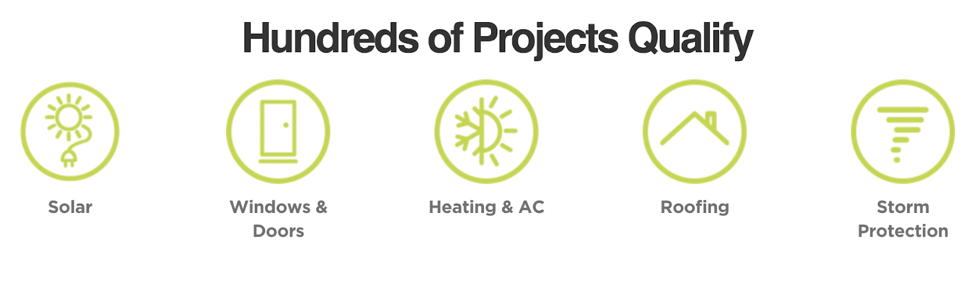 Hundreds of Projects Qualify including solar, heating and AC, and roofing.
